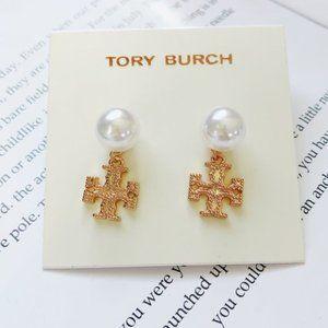 Tory Burch Pearl Embellished Logo Stud Earrings